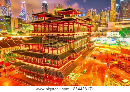 Buddha Tooth Relic Temple Of Singapore From Aerial View, Southeast Asia. Spectacular Buddhist Temple