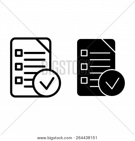 Chek List Line And Glyph Icon. Clipboard Vector Illustration Isolated On White. Document Outline Sty