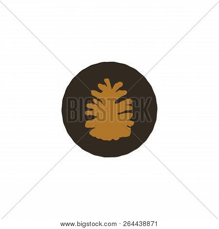 Pine Cone Patch. Simple Nature Shape. Retro Distressed Design. Stock Vector Isolated On White Backgr