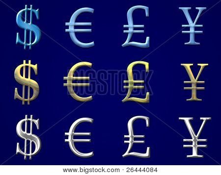 euro, dollar, yen, pound symbols with gold, silver and ice bevel - 12 in 1