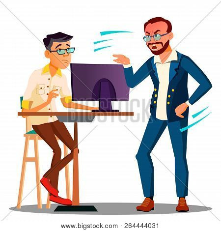 Shouting Head Of Chief From The Computer On Frightened Employee Vector. Isolated Illustration