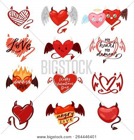 Devil Heart Vector Love Red Symbol With Horns On Loving Valentine Day Card Romantic Illustration Lov