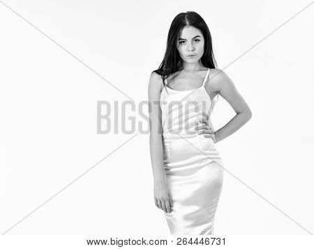 Fashion Model Wears Expensive Fashionable Evening Dress. Femininity Concept. Girl On Pensive Face In