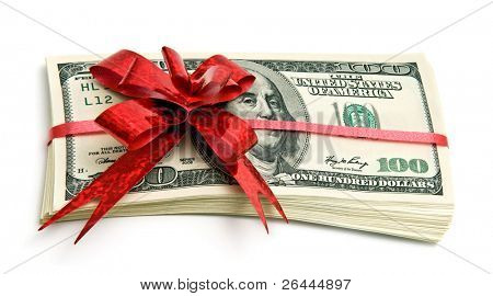 Money tied red ribbon for gift