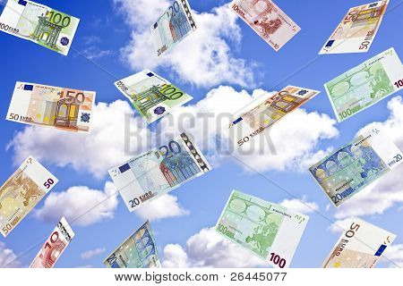 Euro biljets whirling in the sky