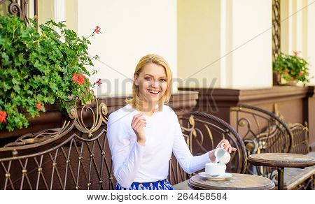 Woman Have Drink Cafe Terrace Outdoors. Girl Drink Coffee Every Morning At Same Place As Daily Ritua