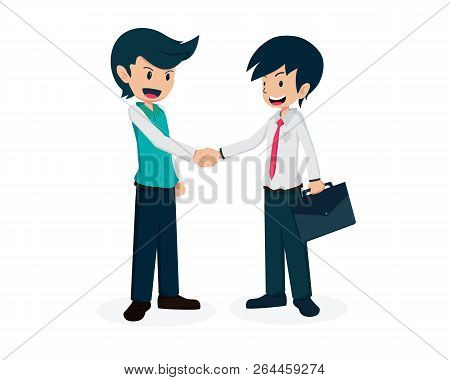 Salary Man 01 Collaboration With Partner Salary Man Is Shaking Hands With Partner Good Partner Good