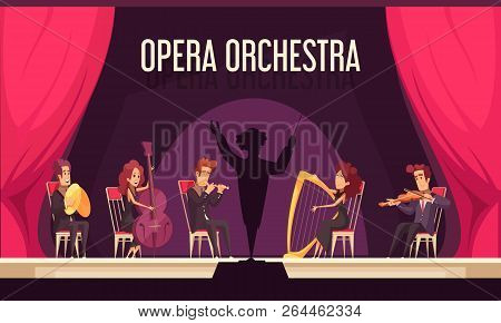 Theater Opera Orchestra Onstage Performance With Violinist Harpist Fluitist Musicians Conductor Red