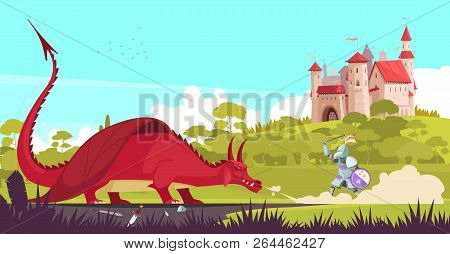 Medieval Legendary Knight Warrior Fighting Fierce Dragon Near Castle To Save Princess Fair Tale Cart