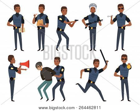 Police Characters. Patrol Policeman Security Authority Mascots In Action Poses Vector Cartoon Illust