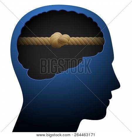 Knot Head. Mental Block. Thinking Barrier. Symbolized With A Knotted Rope In The Brain Of A Young Pe