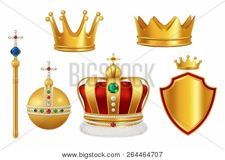 Golden Royal Symbols. Crown With Jewels For Knight Monarch Antique Trumpet Medieval Headgear Vector