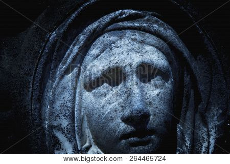 Virgin Mary Statue. Vintage Sculpture Of Sad Woman In Grief (religion, Faith, Suffering, Love Concep