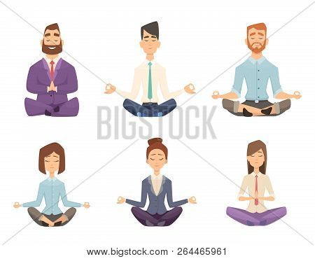 Businessman Yoga. Man And Woman Relaxing Meditation At Workspace Table Vector Concept Cartoon Illust