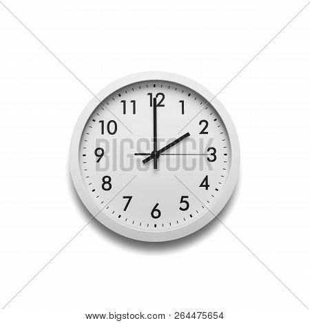 White Wall Clock Isolated On White Background. On The Clock, Two Hours.