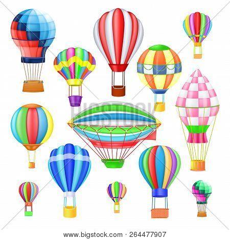 Air Balloon Vector Cartoon Air-balloon Or Aerostat With Basket Flying In Sky And Ballooning Adventur