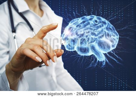 Female Doctor Hand Pointing At Glowing Brain Interface. Artificial Intelligence And Ai Concept. 3d R