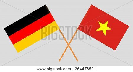 Socialist Republic Of Vietnam And Germany. The Vietnamese And German Flags. Official Colors. Correct