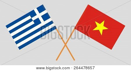 Socialist Republic Of Vietnam And Greece. The Vietnamese And Greek Flags. Official Colors. Correct P