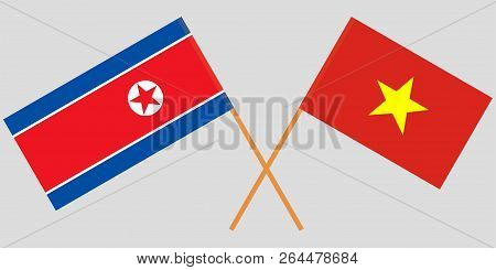 Socialist Republic Of Vietnam And North Korea. The Vietnamese And Korean Flags. Official Colors. Cor