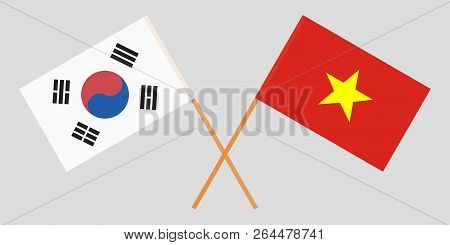 Socialist Republic Of Vietnam And South Korea. The Vietnamese And Korean Flags. Official Colors. Cor