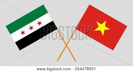 Socialist Republic Of Vietnam And Syria Opposition. The Vietnamese And Syrian Flags. Official Colors