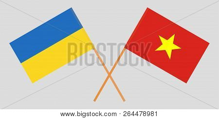 Socialist Republic Of Vietnam And Ukraine. The Vietnamese And Ukrainian Flags. Official Colors. Corr