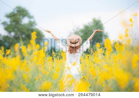 Asian Young Woman Enjoy And Stretching Her Arms With Sky Background In Nature Yellow Flower Farm, He