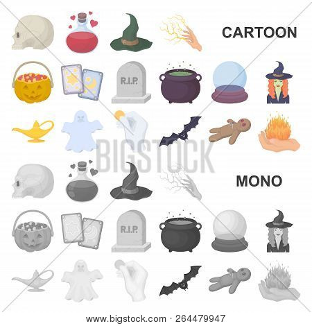 Cartoon And White Magic Cartoon Icons In Set Collection For Design. Attributes And Sorceress Accesso