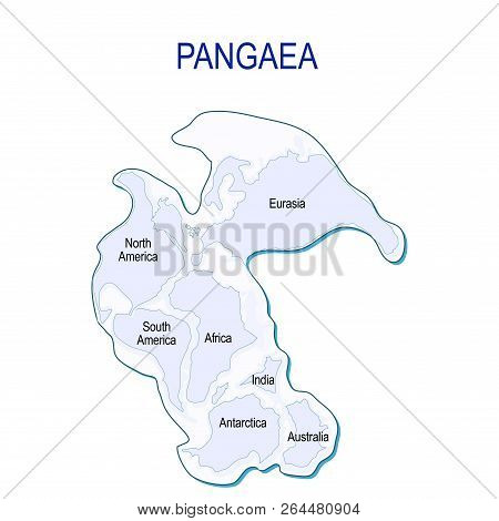 Map Of Pangaea With Modern Continental Borders. Continental Drift On The Planet Earth. Millions Year