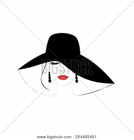 Smiling Beautiful Woman Face With Closed Eyes And Red  Lips In A Wide Brimmed Hat, Square Vector Ill