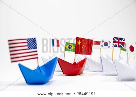 Us America Flag On Blue Ship And China Flag On Red Ship And Multi Color Flag With White Background O