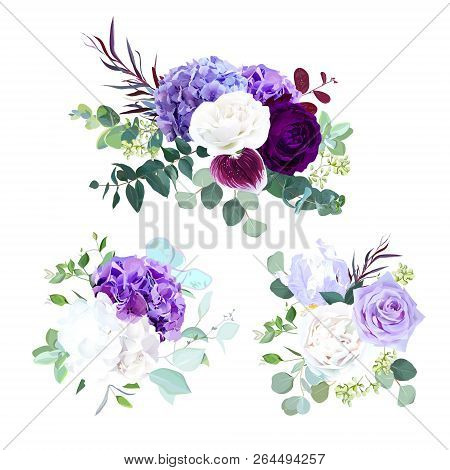 Elegant Seasonal Dark Flowers Vector Design Wedding Bouquets.purple And Violet Rose, White And Lilac