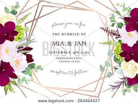 Luxury Fall Flowers Vector Geometric Card. Dark Marsala Orchid, Pink Camellia, Yellow Rose, Burgundy