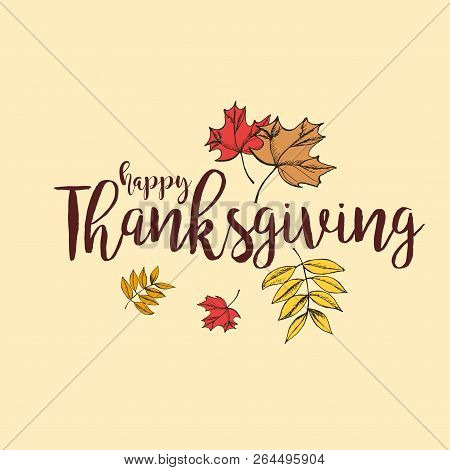 Flat Design Style Happy Thanksgiving Day Logotype, Badge And Icon. Happy Thanksgiving Day Logo Templ