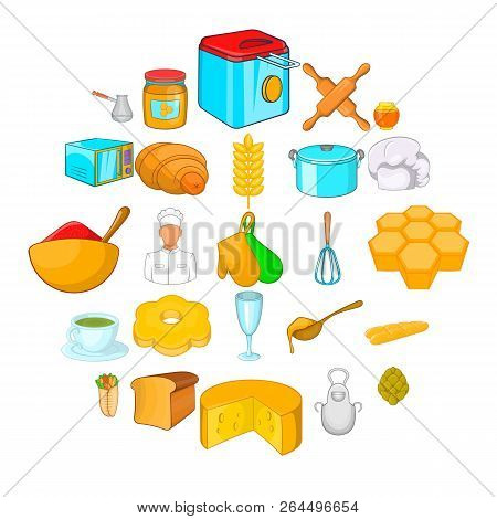 Bakehouse Icons Set. Cartoon Set Of 25 Bakehouse Vector Icons For Web Isolated On White Background
