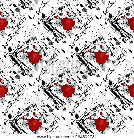 Red Flower Seamless. Beautiful Bouquet Of Flowers. Drawn By Hand. Seamless Cute Pattern In Pretty Fl
