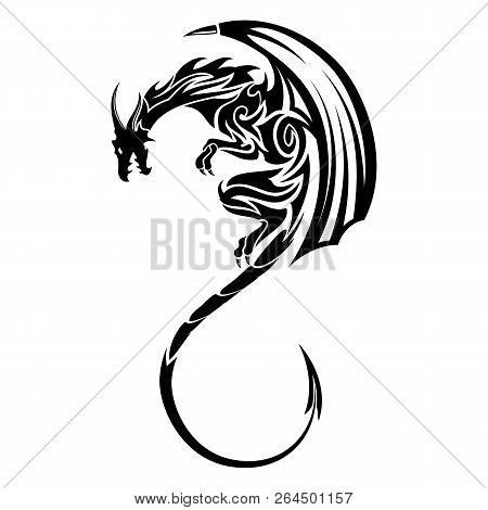 Vector Image Of A Black Winged Dragon. Medieval Winged Monster. Knights Hunter. Symbol Of Wisdom And