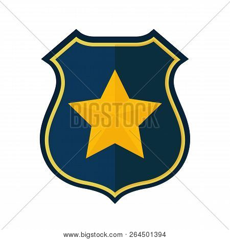 Police Badge Isolated On White Background. Police Officer Badge Icon. Vector Stock.