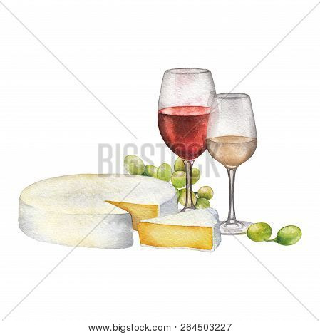 Watercolor Glasses Of Red And White Wines, Cheese And White Grapes