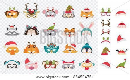 Collection Of Winter Animal Masks And Christmas Photo Booth Props For Kids. Cute Cartoon Masks And E