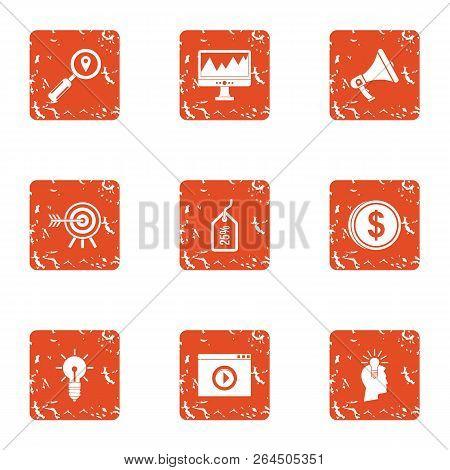 Monetary Objective Icons Set. Grunge Set Of 9 Monetary Objective Vector Icons For Web Isolated On Wh