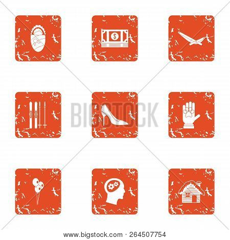 Money for the child icons set. Grunge set of 9 money for the child vector icons for web isolated on white background poster