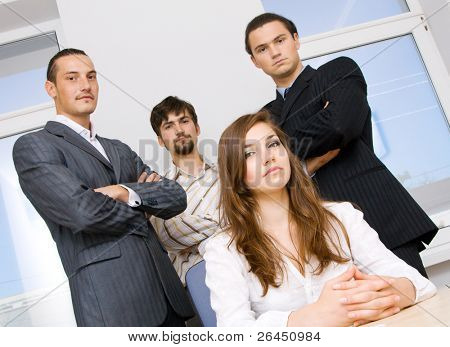 Suc?essful business team, focus on woman