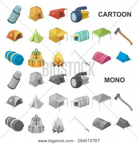 Different Kinds Of Tents Cartoon Icons In Set Collection For Design. Temporary Shelter And Housing V