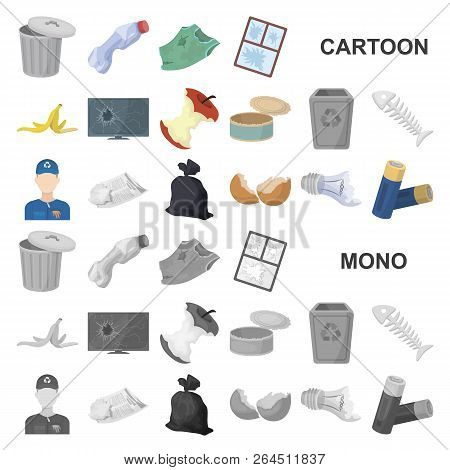 Garbage And Waste Cartoon Icons In Set Collection For Design. Cleaning Garbage Vector Symbol Stock W