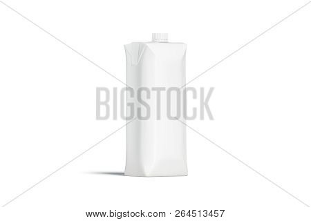 Blank White Prisma Juice Pack With Lid Mockup, Isolated, Front View, 3d Rendering. Empty Aseptic Pac