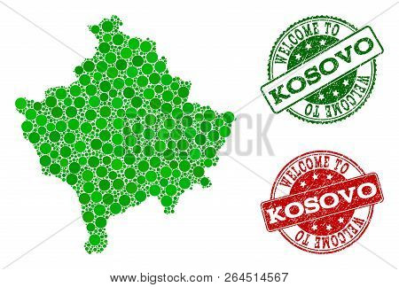 Welcome combination of map of Kosovo and scratched seal stamps. Vector greeting watermarks with scratched rubber texture in green and red colors. Welcome flat design for tourist greetings purposes. poster