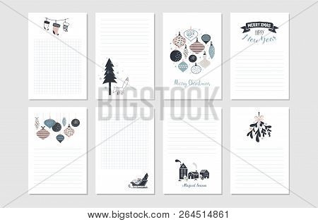 Hipster New Year and Merry Christmas stationary set. Vector printable cards, stickers and banners with christmas balls, patterns, tree, snowflake, etc. poster