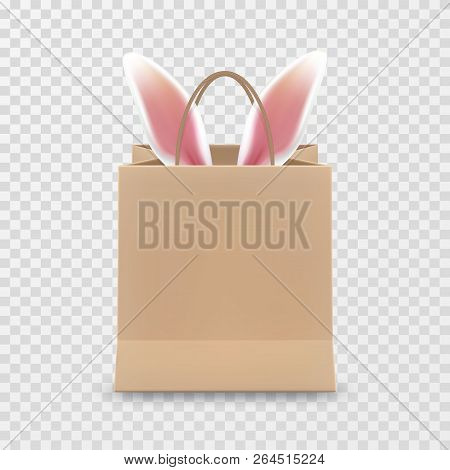 Happy Easter Sale. Realistic Paper Shopping Bag With Handles Isolated On Transparent Background. Vec